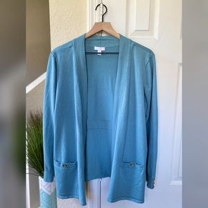 Charter Club Blue Open Front Cardigan Size XL